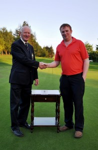 Borris Golf Club President AF Mitchell presenting his Prize to Thomas Foley.