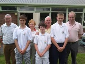 Winners of Pat Leahy's Juvenile Prizes L- R Declan Roberts, Louis Brennan & Shane Nolan. Back L - R Andrew Bartcliff, Kathleen & Liam Quinn & Club PRO Eddie Brophy