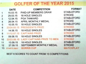 2015 Golfer of the Year Singles