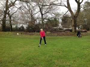 Lady Captain Stephanie Dargan teeing off..
