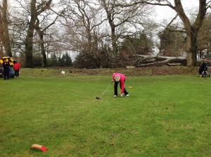 Lady Captain Stephanie Dargan teeing up..