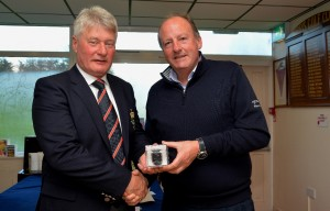 Borris Golf Club Captain Cyril Hughes presenting Michael Morrissey with 1st prize in the overall Winter League 2016.2017