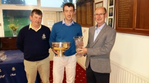 David Murphy from Carlow Golf Club winner of The Milo Dundon Junior Scratch Cup in Borris being presented with his prize by Michael Dundon and Club Captain Kevin Ryan