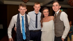Conor Geoghegan, Shane Nolan, Lisa Murray & PJ Dowling enjoying themselves at the Borris Golf Club Dinner Dance in The Lord Bagenal.